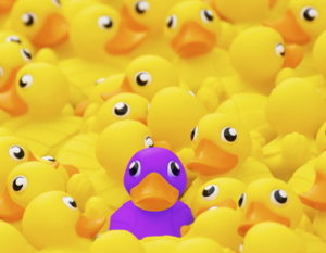 unique purple rubber duck with yellow ducks