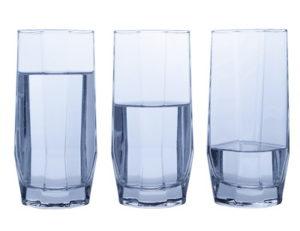 glasses of water full half full and quarter full