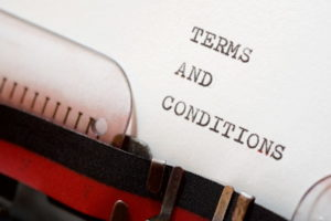 terms and conditions written on type writer