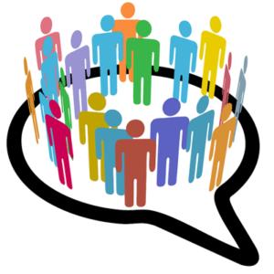 people in a speech bubble social