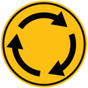 roundabout sign arrows going around in circle