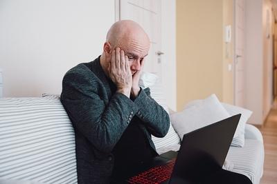Worried Man Laptop