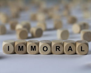 immoral word made from letter blocks