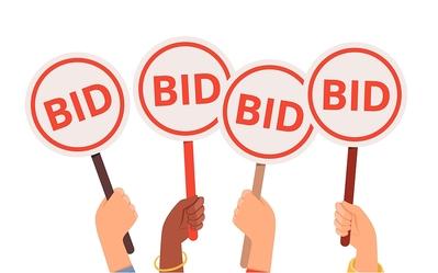 Hands Holding Auction Bid Panels