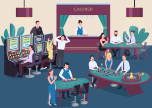 casino floor graphic showing tables slots players cashier dealers