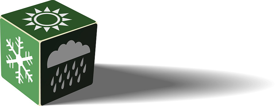 green dice with weather symbols on