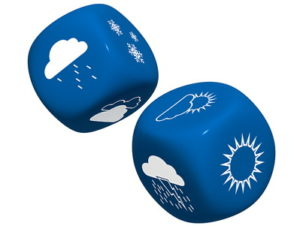 pair of dice with weather symbols on them